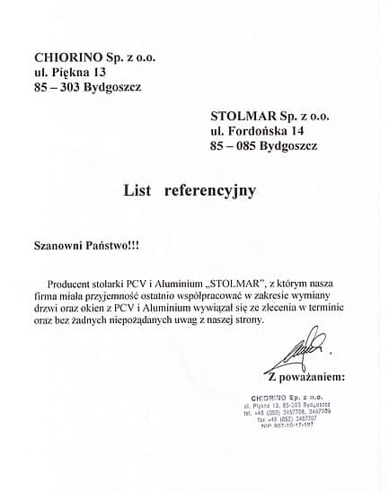 Referencje od CHIORINO Sp. z.o.o.