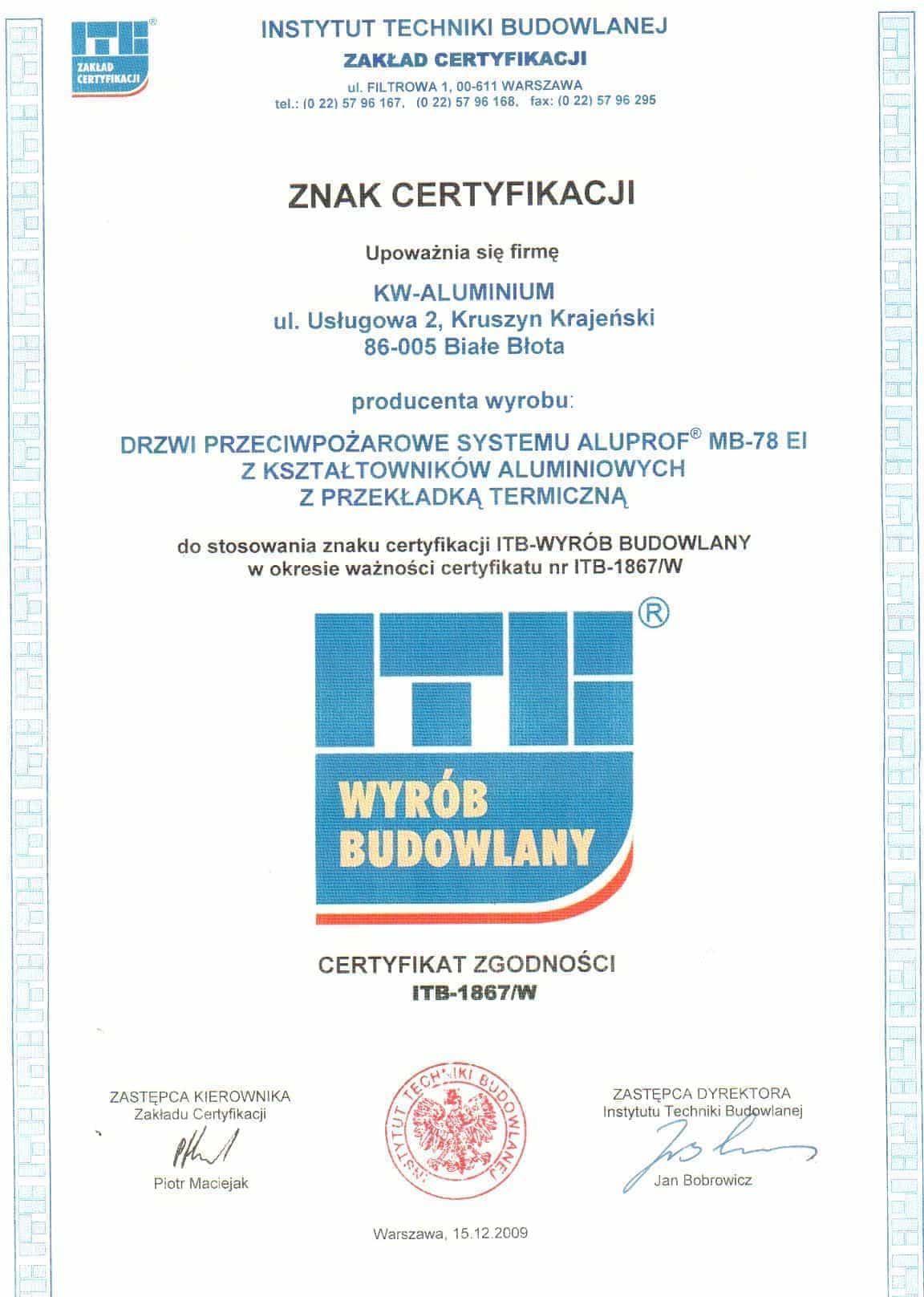 Instytut Techniki Budowlanej - Zakład Certyfikacji .