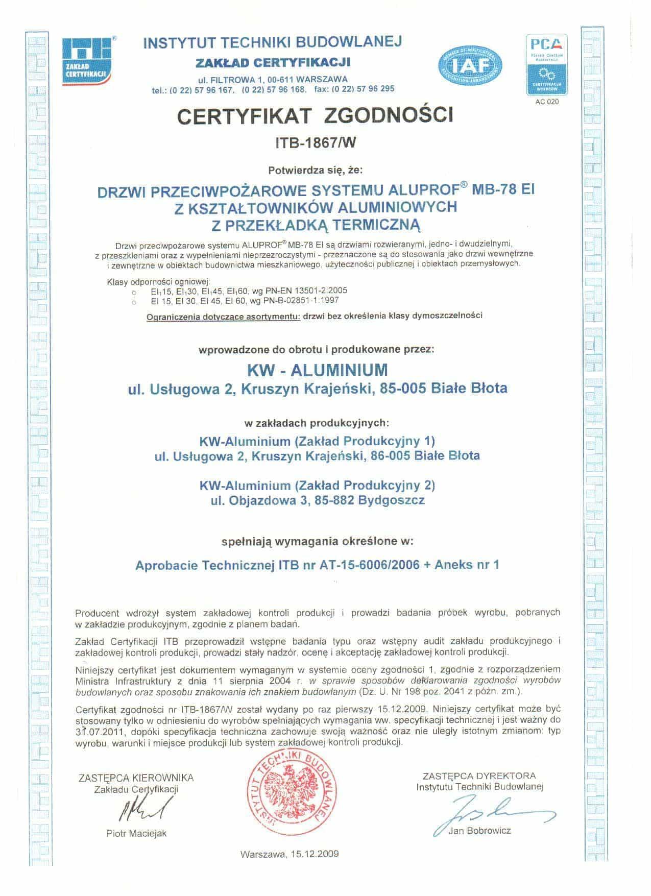 Instytut Techniki Budowlanej – Certyfikat Zgodności