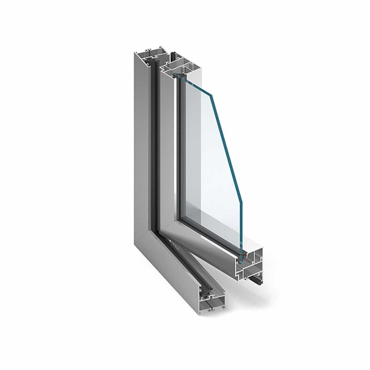 Przekrój okna z aluminium.