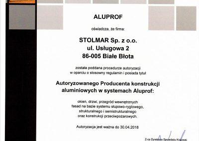 Świadectwo dla autoryzowanego producenta Aluprof