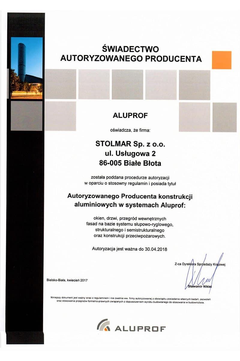 Okna Bydgoszcz Stolmar Świadectwo autoryzowanego producenta Aluprof