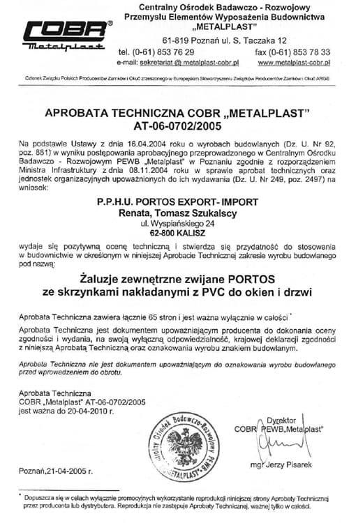 "Aprobata Techniczna COBR ""METALPLAST"""