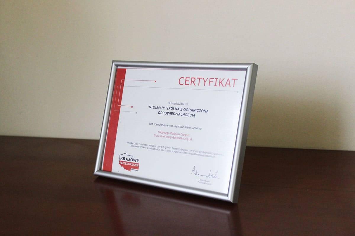 Certyfikat Stolmar licencjonowanym użytkownikiem systemu Krajowego Rejestru Długów Biura Informacji Gospodarczej SA