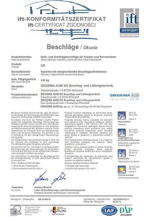 Certyfikat Zgodności Baschlage/ Okucia
