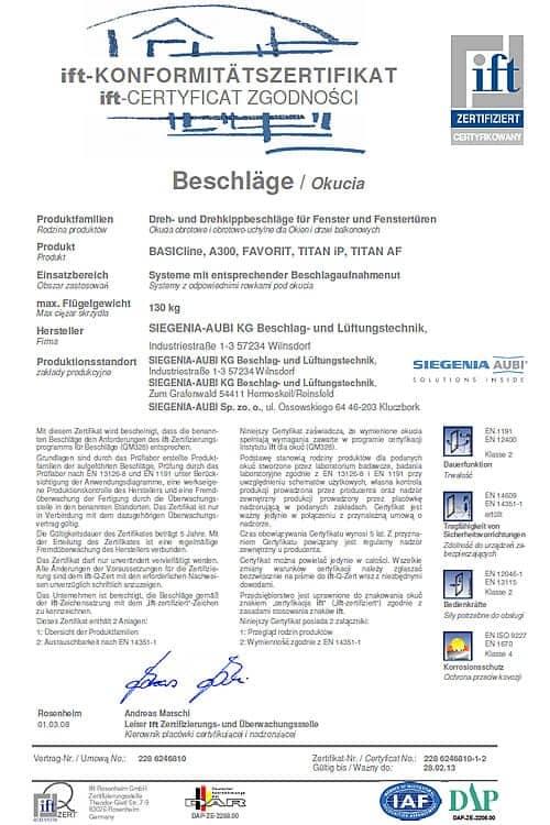 IFT Certyfikat Zgodności Baschlage/ Okucia