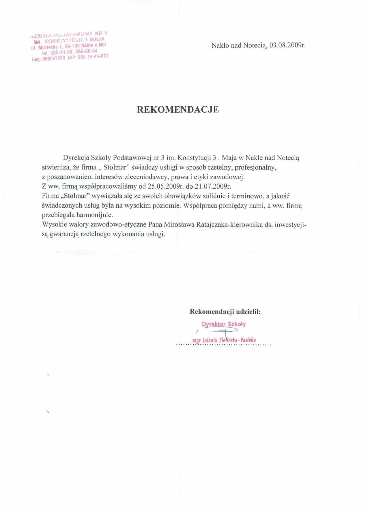 Rekomendacja od Szkoły Podstawowej Nr. 3 w Nakle nad Notecią.