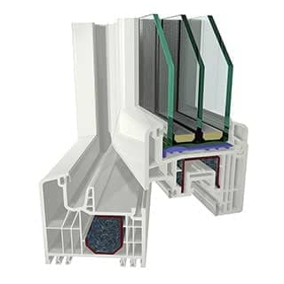 Plastic PVC windows based on Gealan S7000IQ+ profile