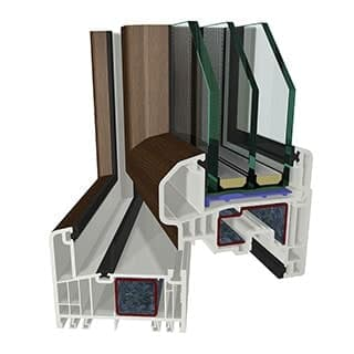 Modern plastic PVC windows based on Gealan S9000 profile