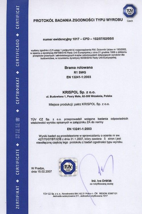 Protokół Badania Zgodności Typu Wyrobu – brama rolowa.