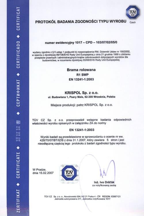 Protokół Badania Zgodności Typu Wyrobu - brama rolowa.