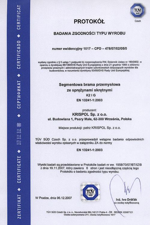 Protokół Badania Zgodności Typu Wyrobu – segmentowa brama przemysłowa