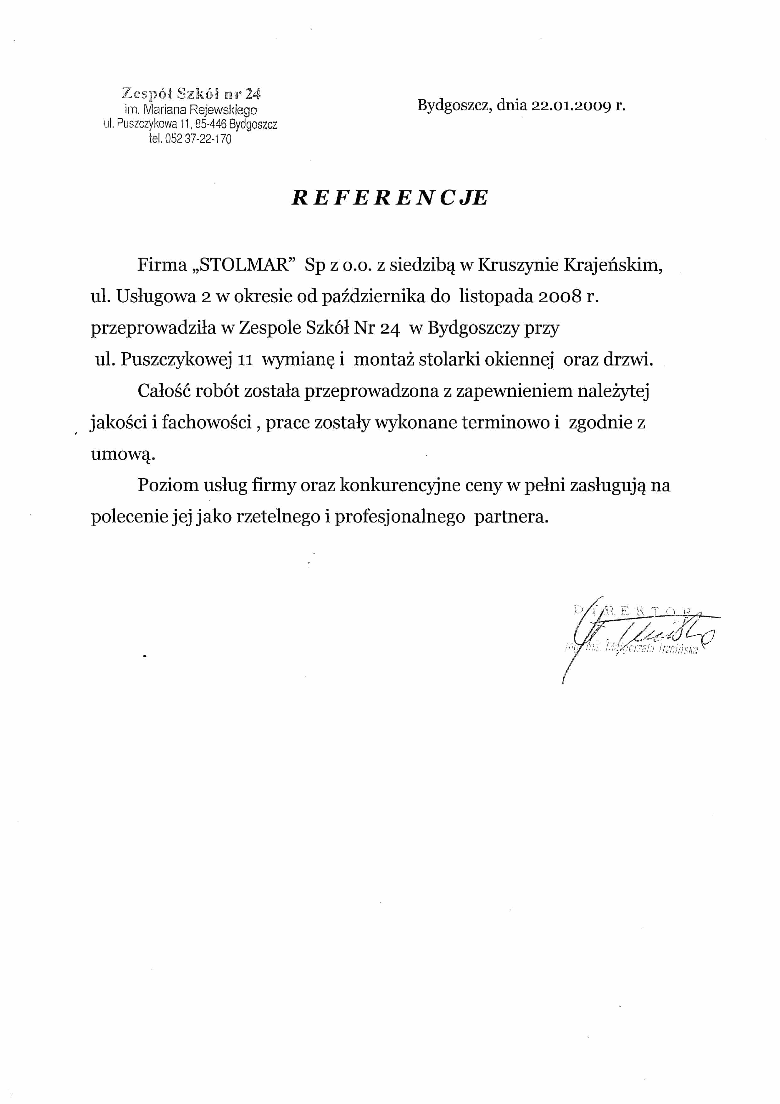 Referencje od Zespołu Szkół Nr. 24 w Bydgoszczy.